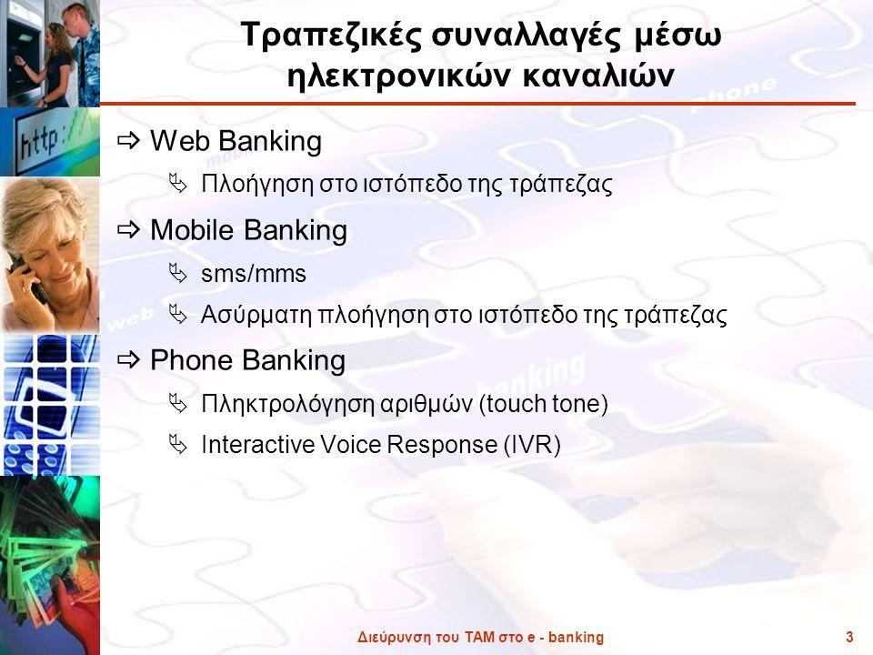 Διεύρυνση του ΤΑΜ στο e - banking3 Τραπεζικές συναλλαγές μέσω ηλεκτρονικών καναλιών  Web Banking  Πλοήγηση στο ιστόπεδο της τράπεζας  Mobile Bankin