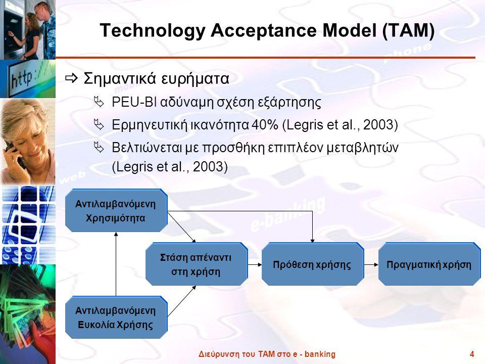 Διεύρυνση του ΤΑΜ στο e - banking4 Technology Acceptance Model (TAM)  Σημαντικά ευρήματα  PEU-ΒΙ αδύναμη σχέση εξάρτησης  Ερμηνευτική ικανότητα 40%