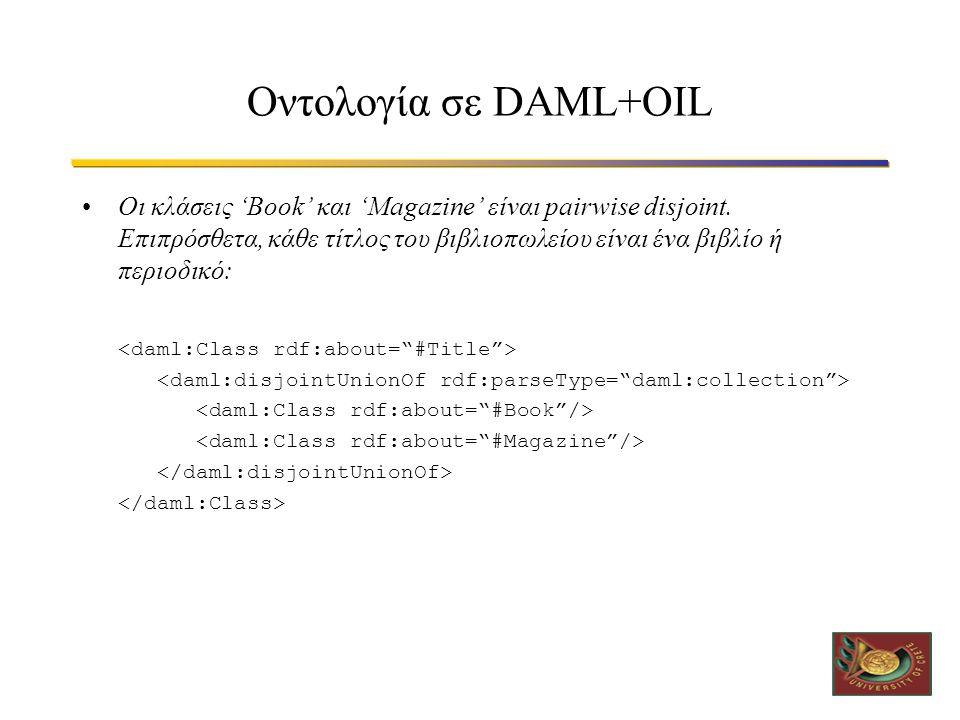 Οντολογία σε DAML+OIL •Οι κλάσεις 'Book' και 'Magazine' είναι pairwise disjoint.