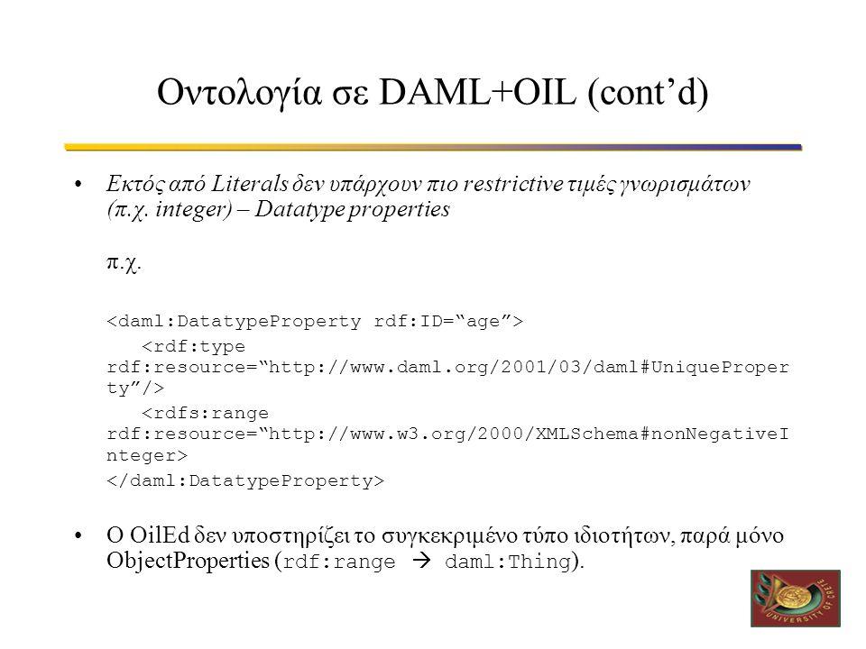 Οντολογία σε DAML+OIL (cont'd) •Εκτός από Literals δεν υπάρχουν πιο restrictive τιμές γνωρισμάτων (π.χ.