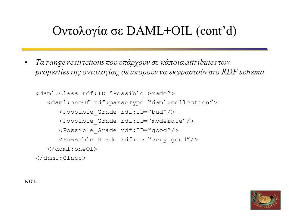Οντολογία σε DAML+OIL (cont'd) •Τα range restrictions που υπάρχουν σε κάποια attributes των properties της οντολογίας, δε μπορούν να εκφραστούν στο RDF schema και...