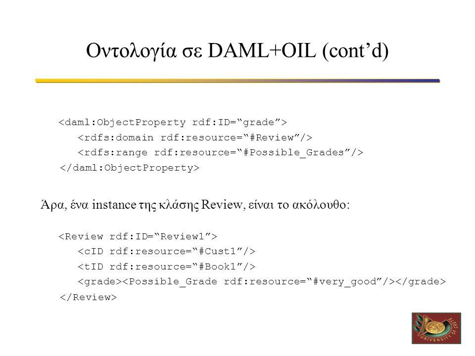 Οντολογία σε DAML+OIL (cont'd) Άρα, ένα instance της κλάσης Review, είναι το ακόλουθο: