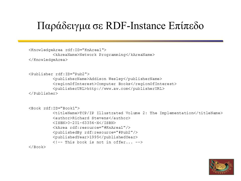 Παράδειγμα σε RDF-Instance Επίπεδο Network Programming TCP/IP Illustrated Volume 2: The Implementation Richard Stevens 0-201-63354-X 1995 Addison Wesl