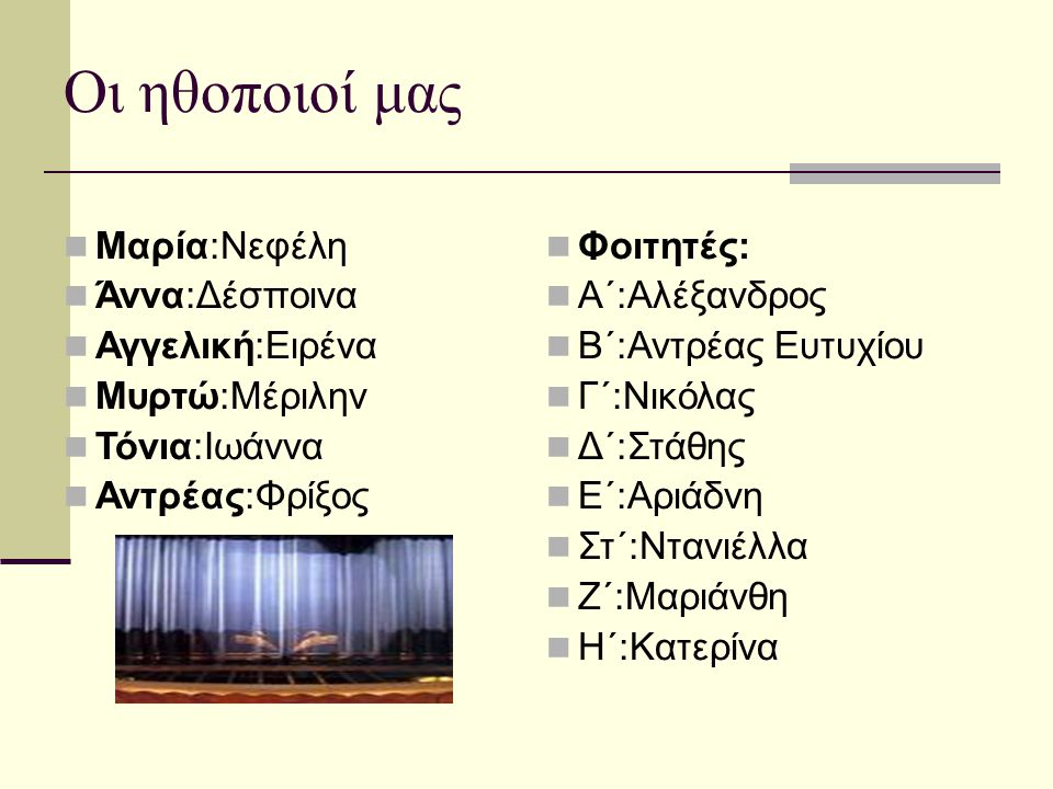 Οι ηθοποιοί μας  Μαρία:Νεφέλη  Άννα:Δέσποινα  Αγγελική:Ειρένα  Μυρτώ:Μέριλην  Τόνια:Ιωάννα  Αντρέας:Φρίξος  Φοιτητές:  Α΄:Αλέξανδρος  Β΄:Αντρέας Ευτυχίου  Γ΄:Νικόλας  Δ΄:Στάθης  Ε΄:Αριάδνη  Στ΄:Ντανιέλλα  Ζ΄:Μαριάνθη  Η΄:Κατερίνα