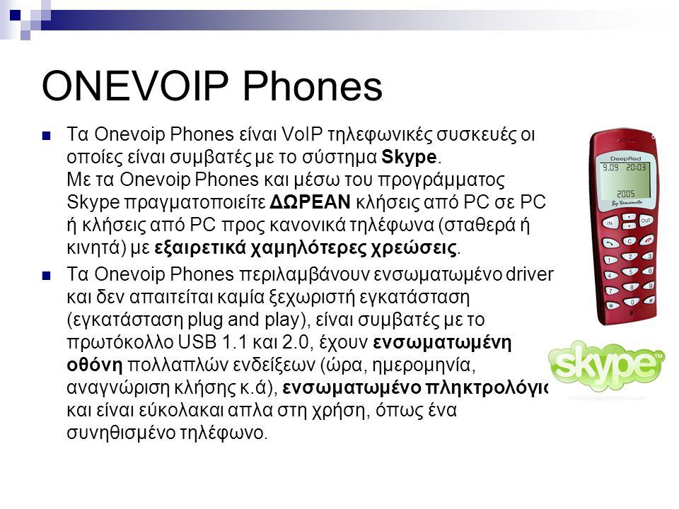 ONEVOIP Phones  Tα Οnevoip Phones είναι VoIP τηλεφωνικές συσκευές οι οποίες είναι συμβατές με το σύστημα Skype. Με τα Onevoip Phones και μέσω του προ