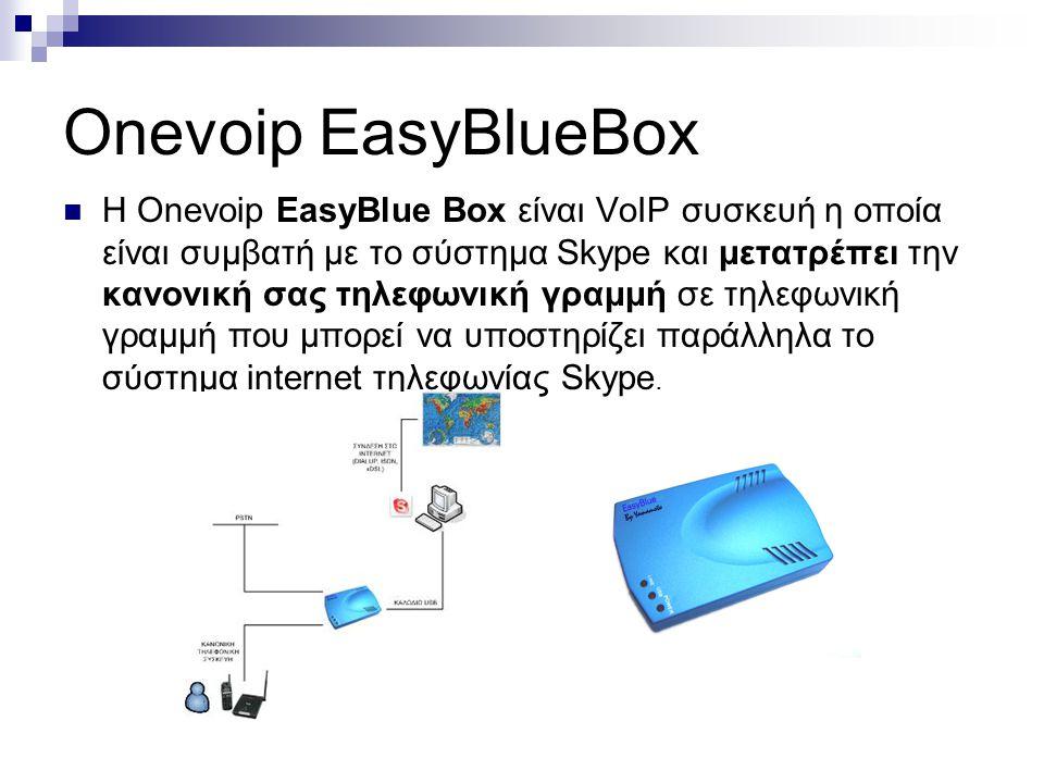 Onevoip EasyBlueBox  Η Onevoip EasyBlue Box είναι VoIP συσκευή η οποία είναι συμβατή με το σύστημα Skype και μετατρέπει την κανονική σας τηλεφωνική γ