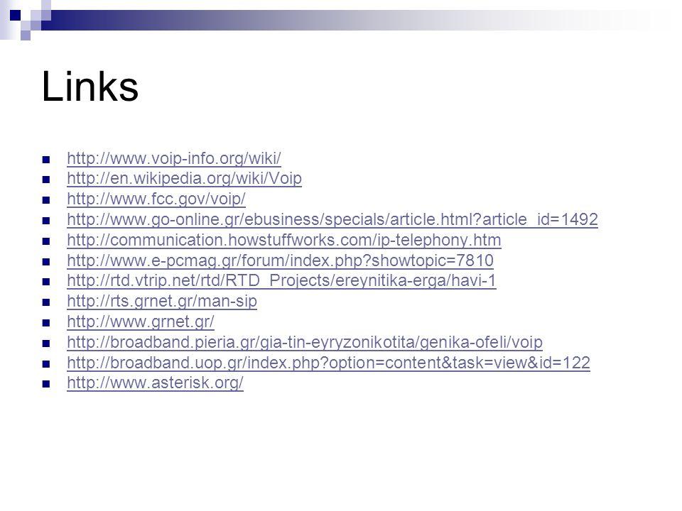 Links  http://www.voip-info.org/wiki/ http://www.voip-info.org/wiki/  http://en.wikipedia.org/wiki/Voip http://en.wikipedia.org/wiki/Voip  http://w