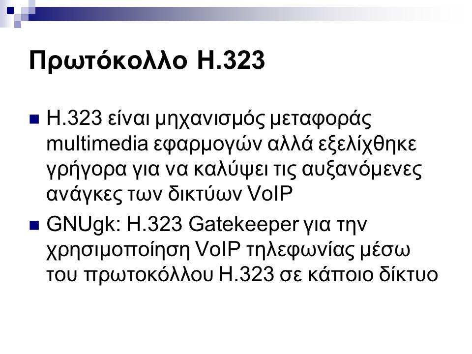 Πρωτόκολλο H.323  H.323 είναι μηχανισμός μεταφοράς multimedia εφαρμογών αλλά εξελίχθηκε γρήγορα για να καλύψει τις αυξανόμενες ανάγκες των δικτύων Vo