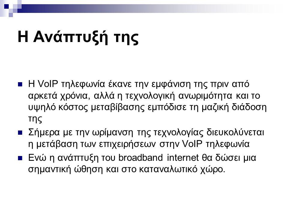 Η Ανάπτυξή της  H VoIP τηλεφωνία έκανε την εμφάνιση της πριν από αρκετά χρόνια, αλλά η τεχνολογική ανωριμότητα και το υψηλό κόστος μεταβίβασης εμπόδι