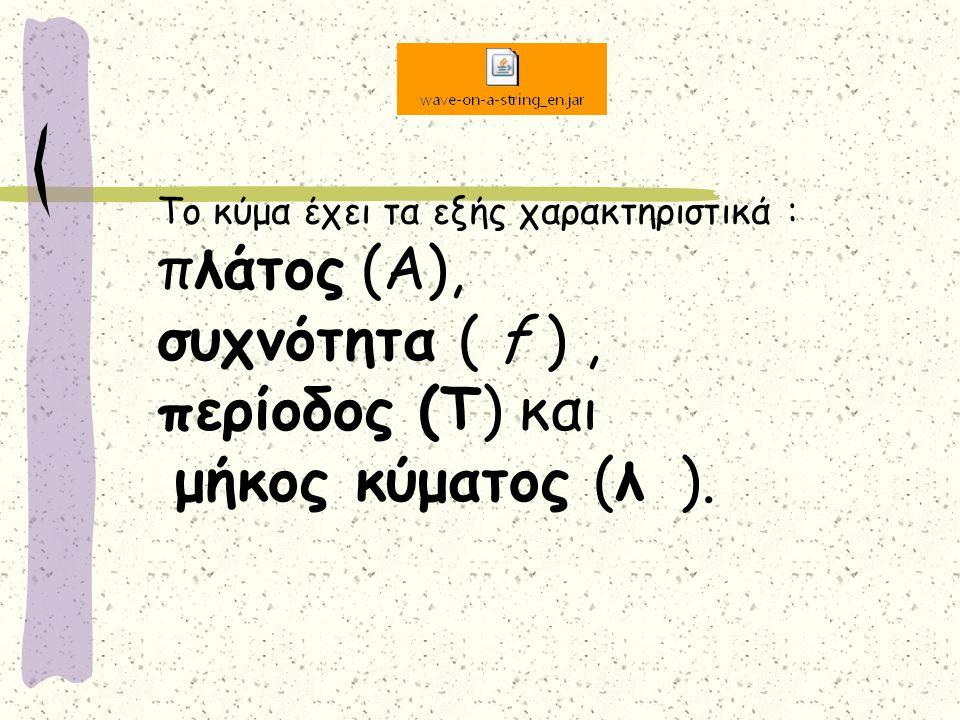 Το κύμα έχει τα εξής χαρακτηριστικά : πλάτος (Α), συχνότητα ( f ), περίοδος (Τ) και μήκος κύματος (λ ).