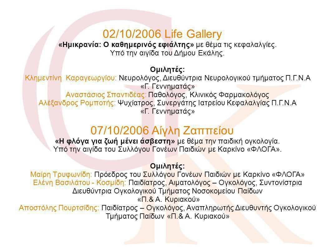 02/10/2006 Life Gallery «Ημικρανία: Ο καθημερινός εφιάλτης» με θέμα τις κεφαλαλγίες. Υπό την αιγίδα του Δήμου Εκάλης. Ομιλητές: Κλημεντίνη Καραγεωργίο