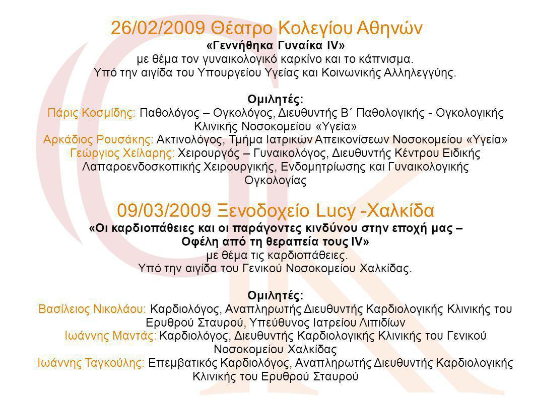 26/02/2009 Θέατρο Κολεγίου Αθηνών «Γεννήθηκα Γυναίκα IV» με θέμα τον γυναικολογικό καρκίνο και το κάπνισμα. Υπό την αιγίδα του Υπουργείου Υγείας και Κ