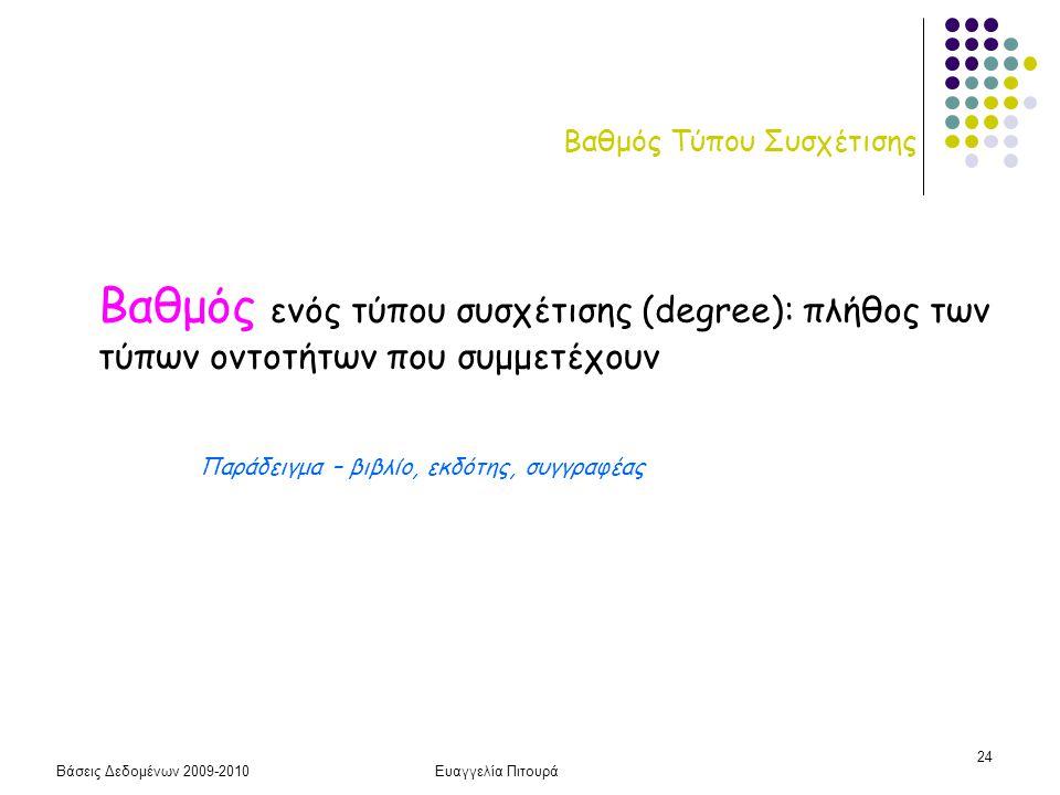 Βάσεις Δεδομένων 2009-2010Ευαγγελία Πιτουρά 24 Βαθμός Τύπου Συσχέτισης Βαθμός ενός τύπου συσχέτισης (degree): πλήθος των τύπων οντοτήτων που συμμετέχο