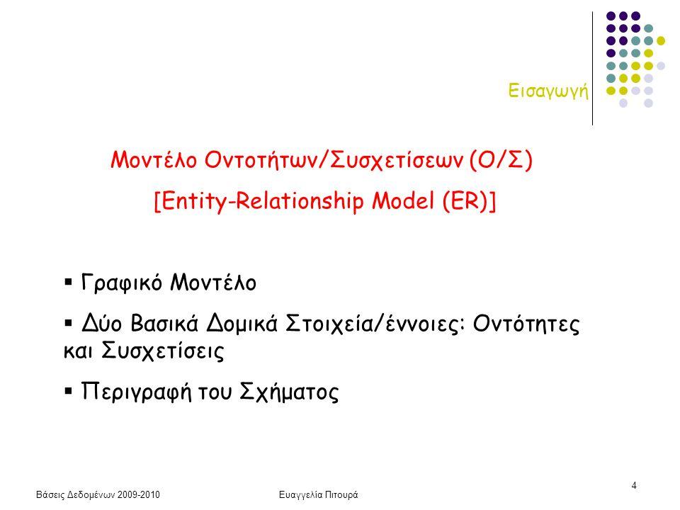 Βάσεις Δεδομένων 2009-2010Ευαγγελία Πιτουρά 65 Μοντέλο Οντοτήτων-Συσχετίσεων • Μοντελοποίηση του προβλήματος χρησιμοποιώντας το μοντέλο Οντοτήτων-Συσχετίσεων [Chen, ACM TODS 1(1), Jan 1976] • Δυο βασικά στοιχεία: Τύποι Οντοτήτων και Τύποι Συσχετίσεων ανάμεσα σε τύπους οντοτήτων • Περιγράφουν το σχήμα Υποκειμενική Διαδικασία, πραγματική υλοποίηση με Σχεσιακό Μοντέλο