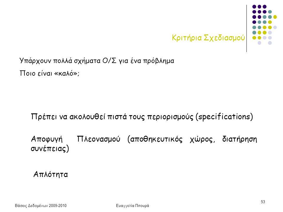 Βάσεις Δεδομένων 2009-2010Ευαγγελία Πιτουρά 53 Κριτήρια Σχεδιασμού Πρέπει να ακολουθεί πιστά τους περιορισμούς (specifications) Αποφυγή Πλεονασμού (απ