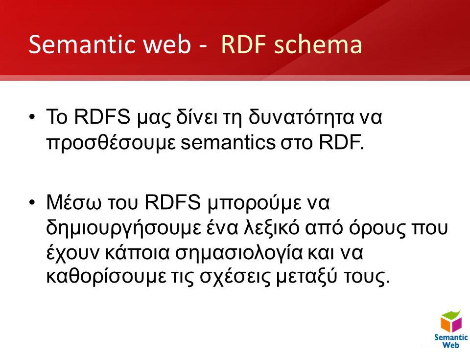 Semantic web - RDF schema •To RDFS μας δίνει τη δυνατότητα να προσθέσουμε semantics στο RDF. •Μέσω του RDFS μπορούμε να δημιουργήσουμε ένα λεξικό από