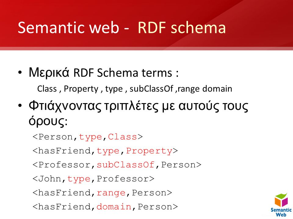 Semantic web - RDF schema •Μερικά RDF Schema terms : Class, Property, type, subClassOf,range domain •Φτιάχνοντας τριπλέτες με αυτούς τους όρους :
