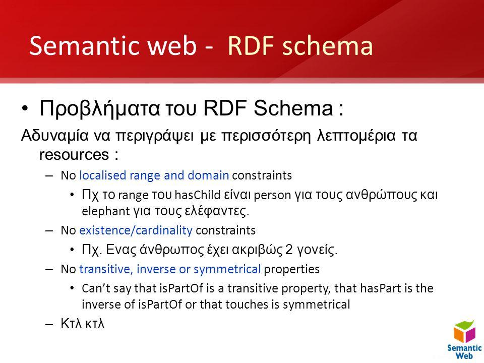 Semantic web - RDF schema •Προβλήματα του RDF Schema : Αδυναμία να περιγράψει με περισσότερη λεπτομέρια τα resources : – No localised range and domain