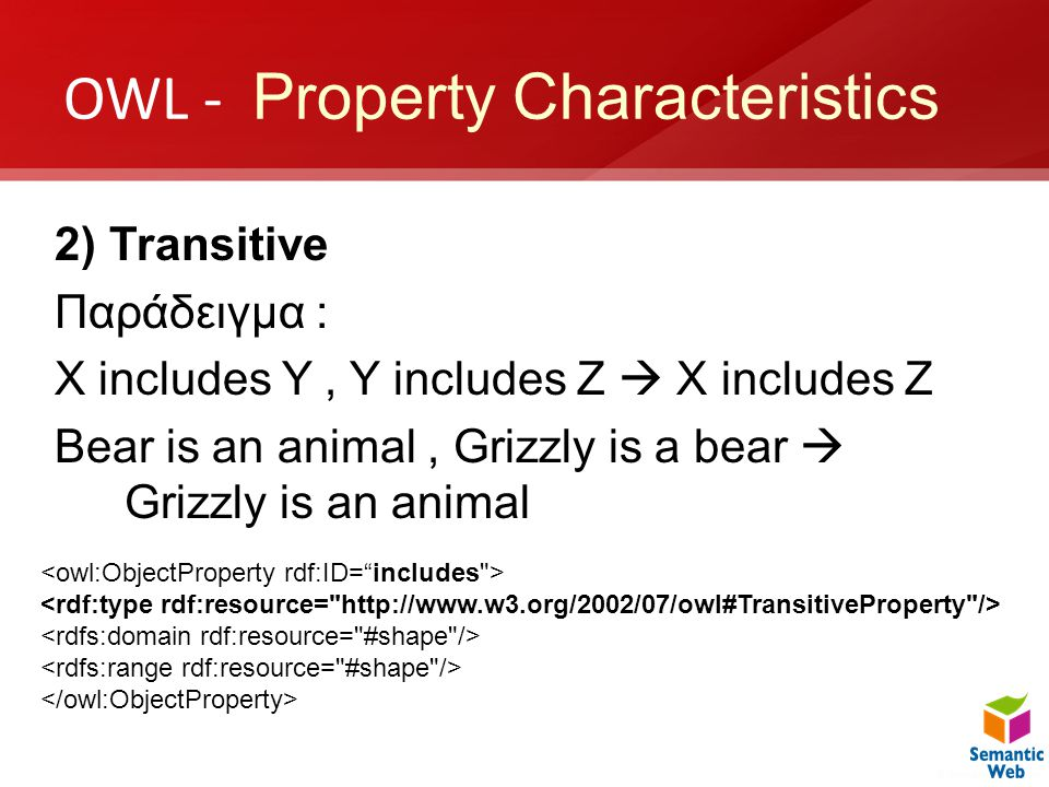 OWL - Property Characteristics 2) Transitive Παράδειγμα : X includes Y, Y includes Z  X includes Z Bear is an animal, Grizzly is a bear  Grizzly is