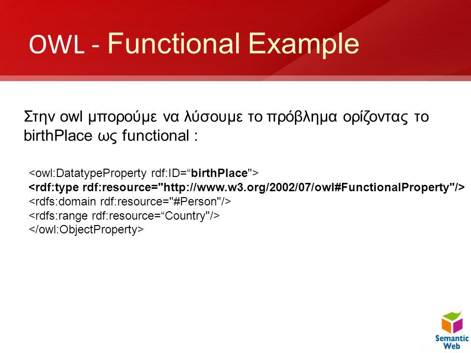 OWL - Functional Example Στην owl μπορούμε να λύσουμε το πρόβλημα ορίζοντας το birthPlace ως functional :