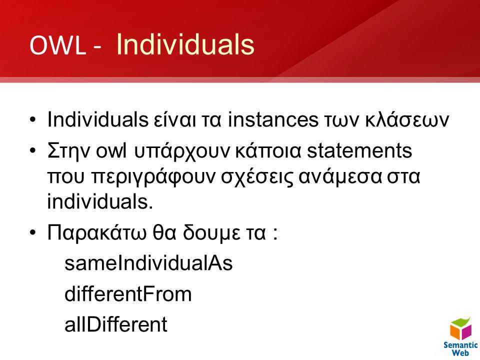OWL - Individuals •Individuals είναι τα instances των κλάσεων •Στην owl υπάρχουν κάποια statements που περιγράφουν σχέσεις ανάμεσα στα individuals. •Π