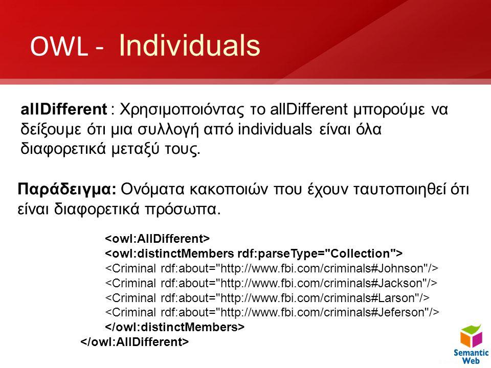 OWL - Individuals allDifferent : Χρησιμοποιόντας το allDifferent μπορούμε να δείξουμε ότι μια συλλογή από individuals είναι όλα διαφορετικά μεταξύ του