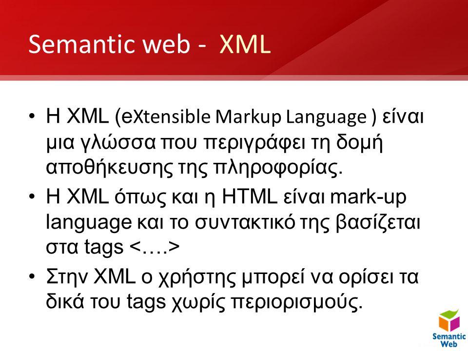 Semantic web - XML •H XML (e Xtensible Markup Language ) είναι μια γλώσσα που περιγράφει τη δομή αποθήκευσης της πληροφορίας. •H XML όπως και η HTML ε