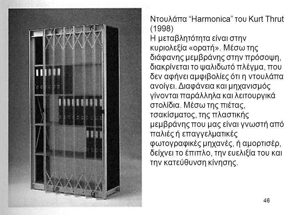 """46 Ντουλάπα """"Harmonica"""" του Kurt Thrut (1998) Η μεταβλητότητα είναι στην κυριολεξία «ορατή». Μέσω της διάφανης μεμβράνης στην πρόσοψη, διακρίνεται το"""