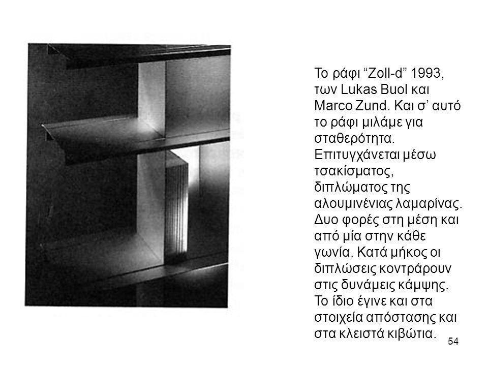 """54 Το ράφι """"Zoll-d"""" 1993, των Lukas Buol και Marco Zund. Και σ' αυτό το ράφι μιλάμε για σταθερότητα. Επιτυγχάνεται μέσω τσακίσματος, διπλώματος της αλ"""