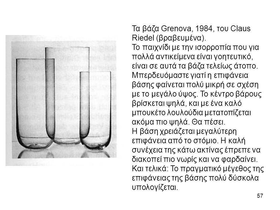 57 Τα βάζα Grenova, 1984, του Claus Riedel (βραβευμένα). Το παιχνίδι με την ισορροπία που για πολλά αντικείμενα είναι γοητευτικό, είναι σε αυτά τα βάζ