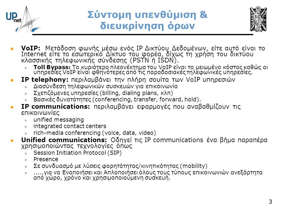 3 Σύντομη υπενθύμιση & διευκρίνηση όρων  VoIP: Μετάδοση φωνής μέσω ενός IP Δικτύου Δεδομένων, είτε αυτό είναι το Internet είτε το εσωτερικό Δίκτυο το