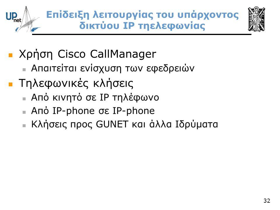 32 Επίδειξη λειτουργίας του υπάρχοντος δικτύου IP τηελεφωνίας  Χρήση Cisco CallManager  Απαιτείται ενίσχυση των εφεδρειών  Τηλεφωνικές κλήσεις  Απ