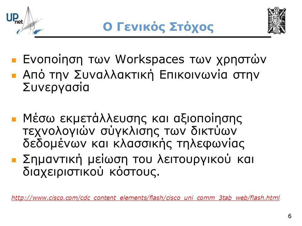 6 Ο Γενικός Στόχος  Ενοποίηση των Workspaces των χρηστών  Από την Συναλλακτική Επικοινωνία στην Συνεργασία  Μέσω εκμετάλλευσης και αξιοποίησης τεχν