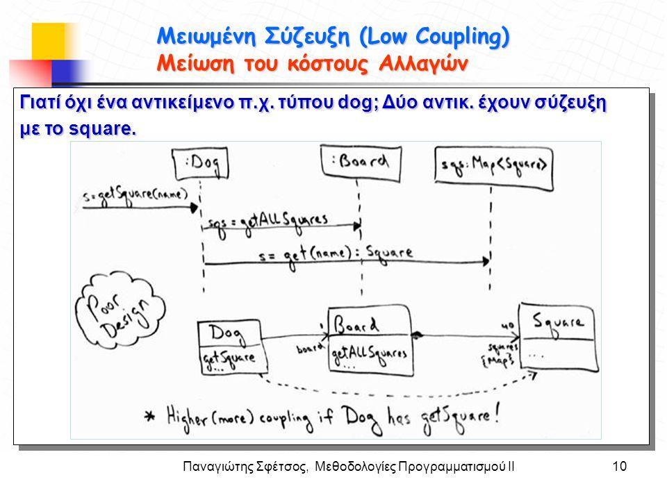 Παναγιώτης Σφέτσος, Μεθοδολογίες Προγραμματισμού ΙΙ10 Στόχοι Μειωμένη Σύζευξη (Low Coupling) Μείωση του κόστους Αλλαγών Γιατί όχι ένα αντικείμενο π.χ.