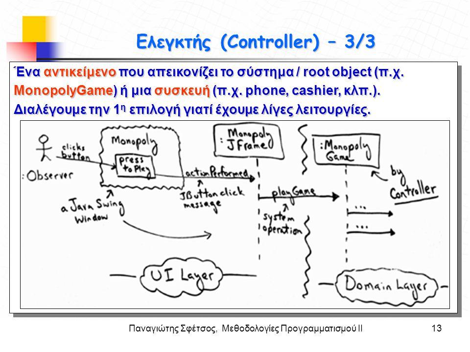 Παναγιώτης Σφέτσος, Μεθοδολογίες Προγραμματισμού ΙΙ13 Στόχοι Ελεγκτής (Controller) – 3/3 Ένα αντικείμενο που απεικονίζει το σύστημα / root object (π.χ