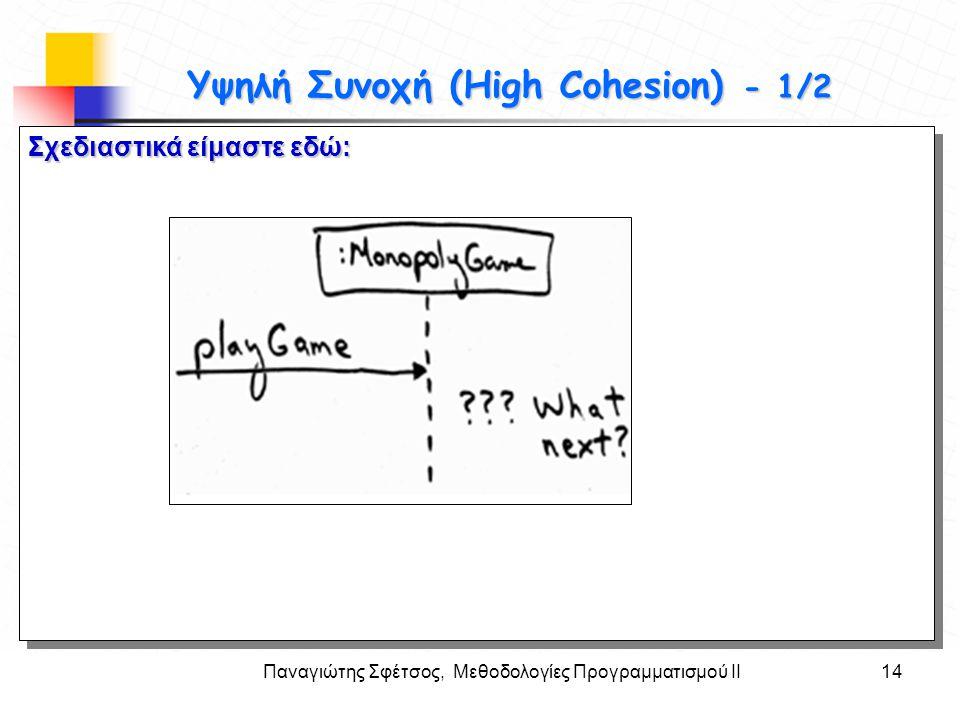 Παναγιώτης Σφέτσος, Μεθοδολογίες Προγραμματισμού ΙΙ14 Στόχοι Υψηλή Συνοχή (High Cohesion) - 1/2 Σχεδιαστικά είμαστε εδώ:
