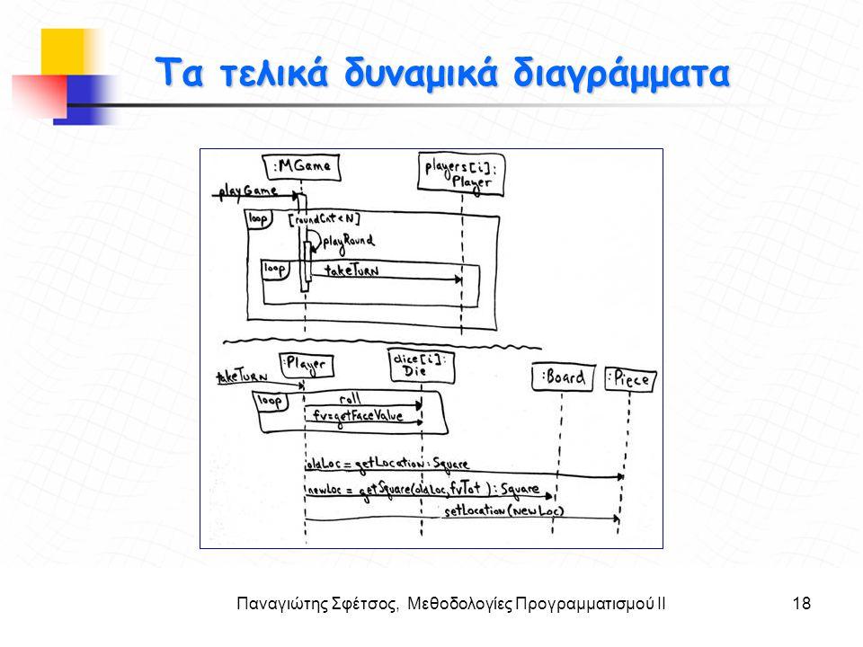Παναγιώτης Σφέτσος, Μεθοδολογίες Προγραμματισμού ΙΙ18 Στόχοι Τα τελικά δυναμικά διαγράμματα