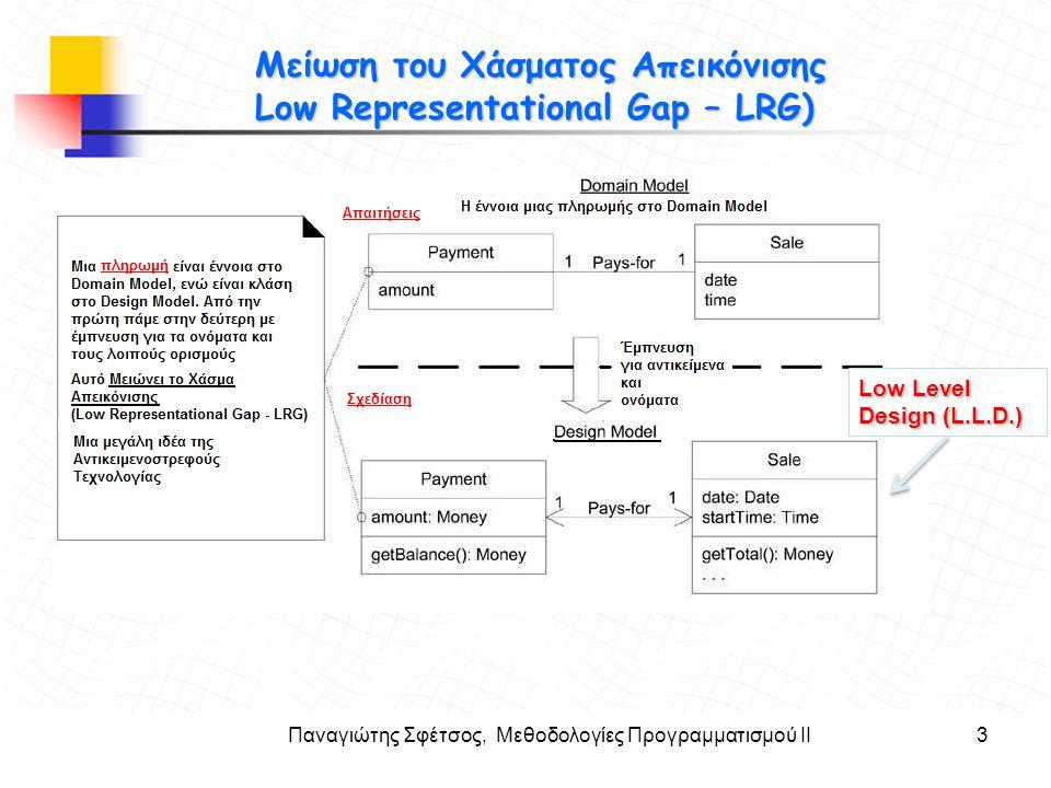 Παναγιώτης Σφέτσος, Μεθοδολογίες Προγραμματισμού ΙΙ3 Στόχοι Μείωση του Χάσματος Απεικόνισης Low Representational Gap – LRG) Low Level Design (L.L.D.)