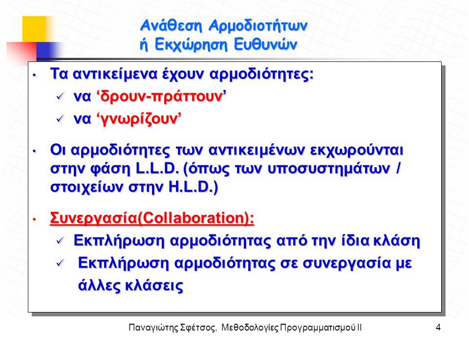 Παναγιώτης Σφέτσος, Μεθοδολογίες Προγραμματισμού ΙΙ4 Στόχοι Ανάθεση Αρμοδιοτήτων ή Εκχώρηση Ευθυνών • Τα αντικείμενα έχουν αρμοδιότητες:  να 'δρουν-π