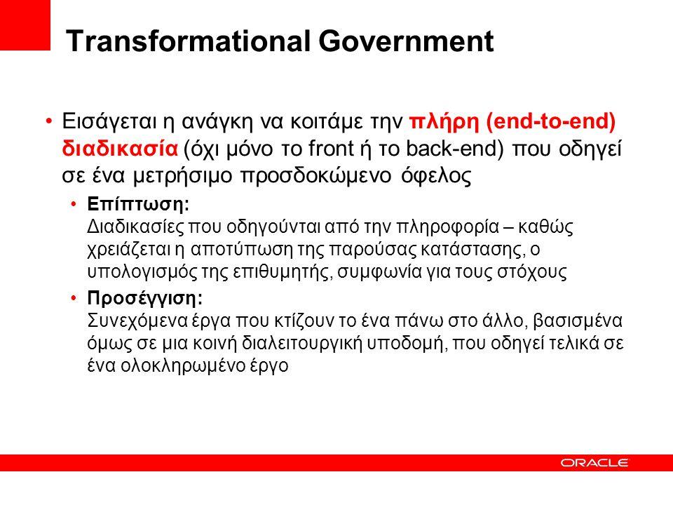 Transformational Government •Εισάγεται η ανάγκη να κοιτάμε την πλήρη (end-to-end) διαδικασία (όχι μόνο το front ή το back-end) που οδηγεί σε ένα μετρήσιμο προσδοκώμενο όφελος •Επίπτωση: Διαδικασίες που οδηγούνται από την πληροφορία – καθώς χρειάζεται η αποτύπωση της παρούσας κατάστασης, ο υπολογισμός της επιθυμητής, συμφωνία για τους στόχους •Προσέγγιση: Συνεχόμενα έργα που κτίζουν το ένα πάνω στο άλλο, βασισμένα όμως σε μια κοινή διαλειτουργική υποδομή, που οδηγεί τελικά σε ένα ολοκληρωμένο έργο
