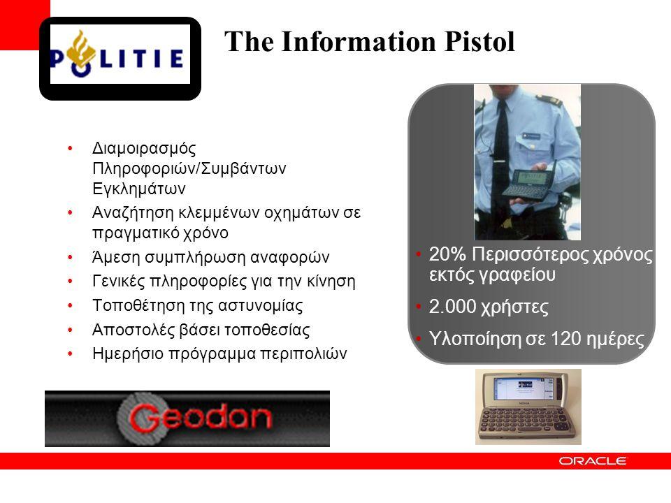 The Information Pistol •Διαμοιρασμός Πληροφοριών/Συμβάντων Εγκλημάτων •Αναζήτηση κλεμμένων οχημάτων σε πραγματικό χρόνο •Άμεση συμπλήρωση αναφορών •Γενικές πληροφορίες για την κίνηση •Τοποθέτηση της αστυνομίας •Αποστολές βάσει τοποθεσίας •Ημερήσιο πρόγραμμα περιπολιών •20% Περισσότερος χρόνος εκτός γραφείου •2.000 χρήστες •Υλοποίηση σε 120 ημέρες