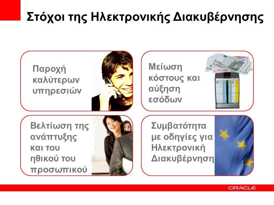 Στόχοι της Ηλεκτρονικής Διακυβέρνησης 1.Παροχή καλυτέρων υπηρεσιών κατά απαίτηση των πολιτών και επιχειρήσεων •Γρηγορότερα, απλούστερα •Με διάφορους τρόπους (social inclusion) – προσωπικά, τηλέφωνο, web, email •Δίνοντας αξία στο φορολογούμενο 2.Βελτίωση της ανάπτυξης του προσωπικού και του ηθικού του προσωπικού 3.Πίεση για μείωση του κόστους της παροχής των υπηρεσιών και αύξησης των εσόδων 4.Πολιτική και οδηγίες ηλεκτρονικής διακυβέρνησης •Ευρωπαϊκή Ένωση και εθνικό επίπεδο •Βελτίωση της δια-υπηρεσιακής (inter-departmental) συνεργασίας •Πρόσβαση στις διαδικασίες του back-office από το front-office •Έλεγχος προστασίας δεδομένων