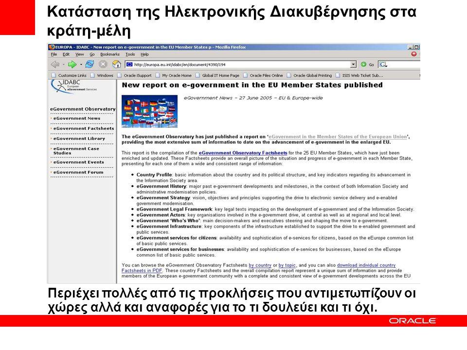 Σύγχρονες Εξελίξεις στο Χώρο της Ηλεκτρονικής Διακυβέρνησης Αντώνης Μονοκρούσος Sales Director Technology, Oracle Hellas