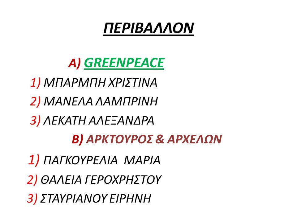 ΠΕΡΙΒΑΛΛΟΝ Α) GREENPEACE 1) ΜΠΑΡΜΠΗ ΧΡΙΣΤΙΝΑ 2) ΜΑΝΕΛΑ ΛΑΜΠΡΙΝΗ 3) ΛΕΚΑΤΗ ΑΛΕΞΑΝΔΡΑ Β) ΑΡΚΤΟΥΡΟΣ & ΑΡΧΕΛΩΝ 1) ΠΑΓΚΟΥΡΕΛΙΑ ΜΑΡΙΑ 2) ΘΑΛΕΙΑ ΓΕΡΟΧΡΗΣΤΟΥ 3) ΣΤΑΥΡΙΑΝΟΥ ΕΙΡΗΝΗ