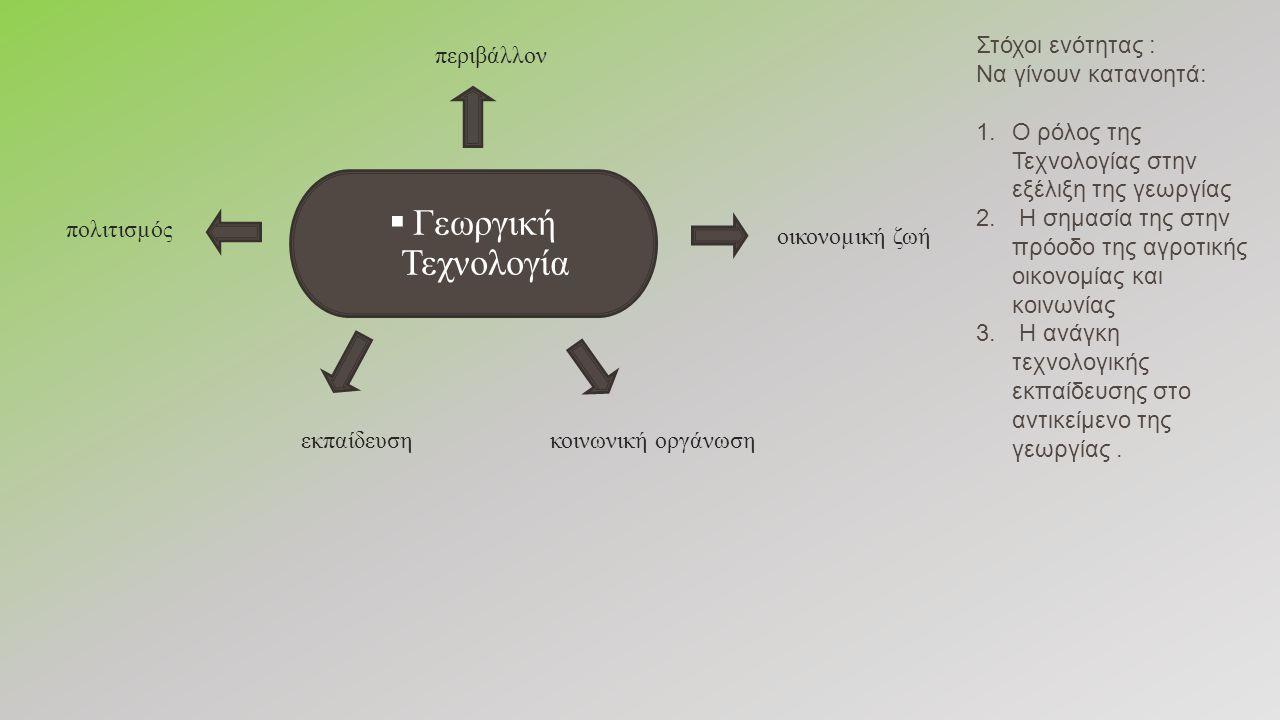  Γεωργική Τεχνολογία πολιτισµός περιβάλλον κοινωνική οργάνωσηεκπαίδευση οικονοµική ζωή Στόχοι ενότητας : Να γίνουν κατανοητά: 1.Ο ρόλος της Τεχνολογίας στην εξέλιξη της γεωργίας 2.