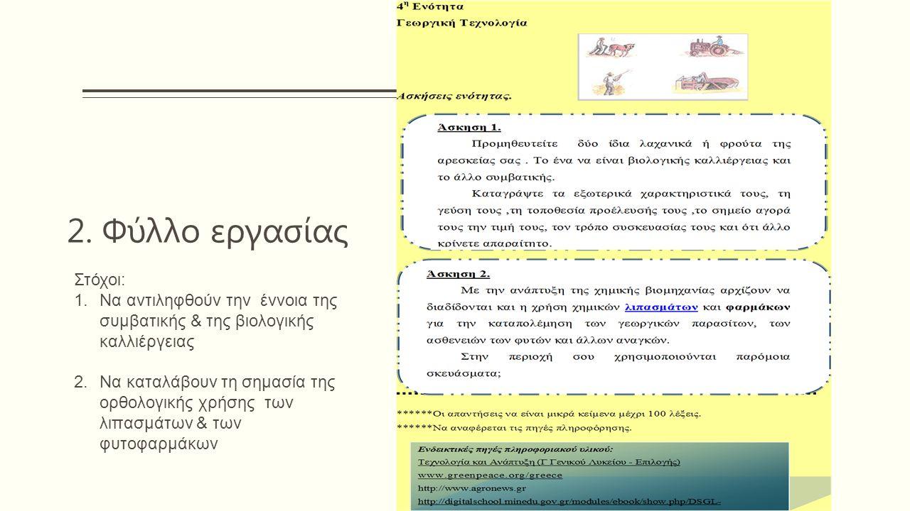 2. Φύλλο εργασίας Στόχοι: 1.Να αντιληφθούν την έννοια της συμβατικής & της βιολογικής καλλιέργειας 2.Να καταλάβουν τη σημασία της ορθολογικής χρήσης τ