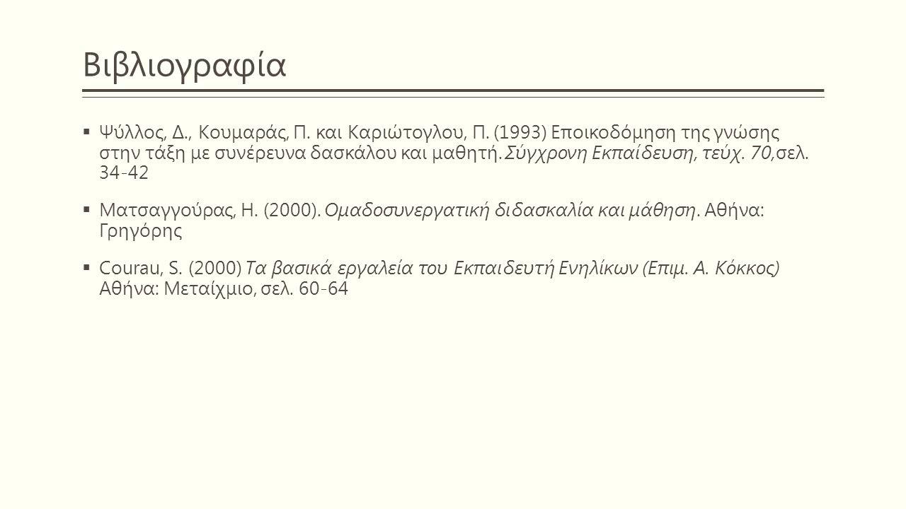 Βιβλιογραφία  Ψύλλος, Δ., Κουμαράς, Π. και Καριώτογλου, Π. (1993) Εποικοδόμηση της γνώσης στην τάξη με συνέρευνα δασκάλου και μαθητή. Σύγχρονη Εκπαίδ