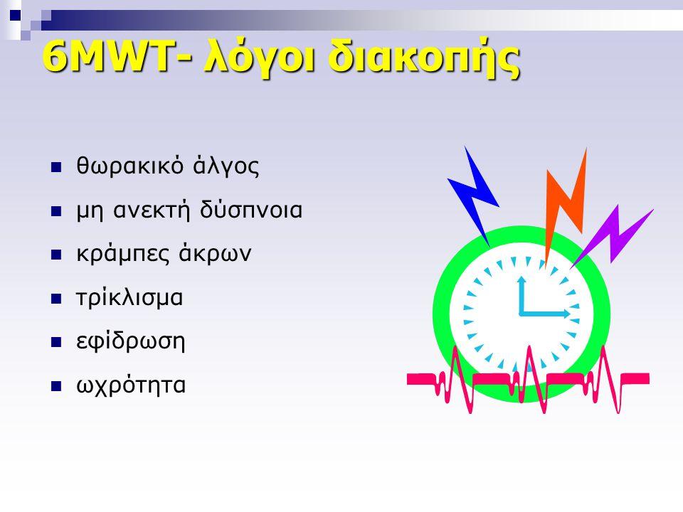 6ΜWT- λόγοι διακοπής  θωρακικό άλγος  μη ανεκτή δύσπνοια  κράμπες άκρων  τρίκλισμα  εφίδρωση  ωχρότητα