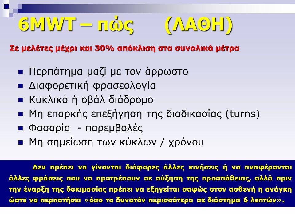 6MWT – πώς (ΛΑΘΗ)  Περπάτημα μαζί με τον άρρωστο  Διαφορετική φρασεολογία  Κυκλικό ή οβάλ διάδρομο  Μη επαρκής επεξήγηση της διαδικασίας (turns) 