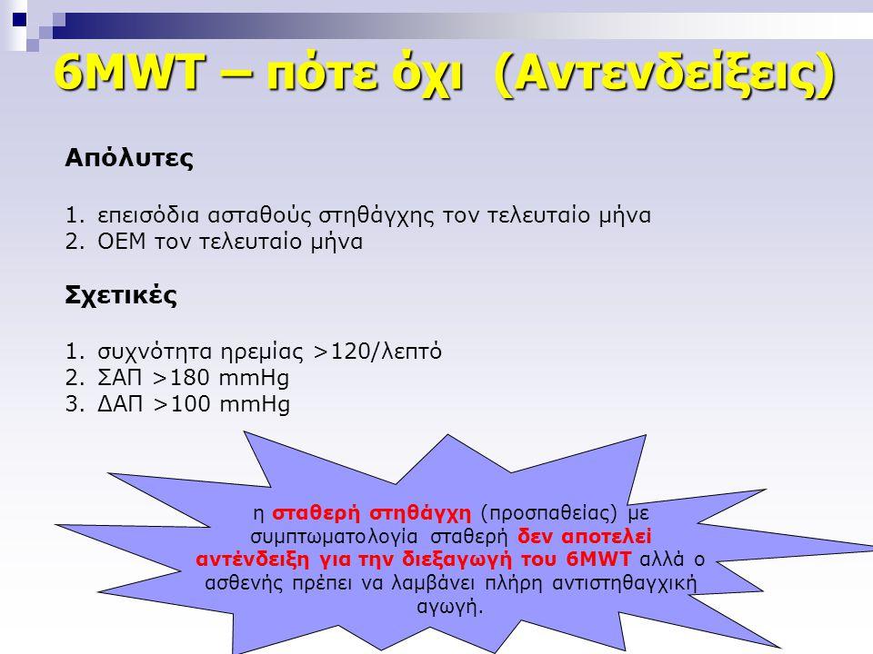 6MWT – πότε όχι (Αντενδείξεις) Απόλυτες 1.επεισόδια ασταθούς στηθάγχης τον τελευταίο μήνα 2.ΟΕΜ τον τελευταίο μήνα Σχετικές 1.συχνότητα ηρεμίας >120/λ